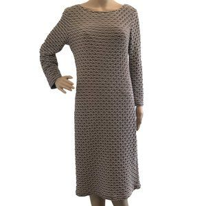 SHARAGANO Textured Fitted Midi Dress Taupe 10
